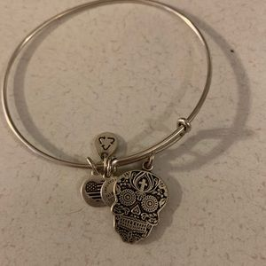 Alex and Ani silver Calavera skull charm bracelet